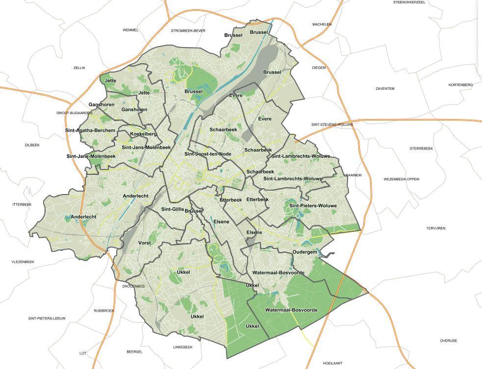 De kaart van de milieuvergunningen in het Brusselse Hoofdstedelijk Gewest